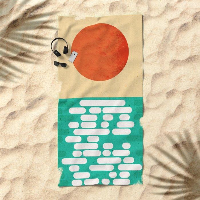 Sun over the sea Beach Towel