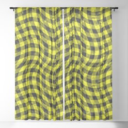 Wiggly Yellow and Black Speckle Check Pattern Sheer Curtain