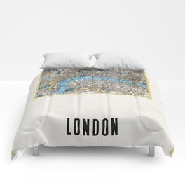 Vintage London Gold Foil Location Coordinates with map Comforters