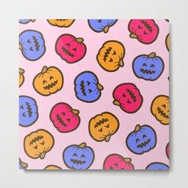 Jack O' Lantern Pattern in Pastel Candy Metal Print