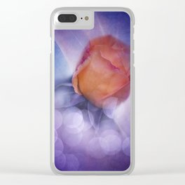 flowers on purple - orange rosebud Clear iPhone Case