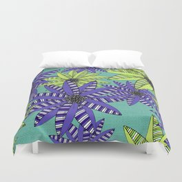 Blue and Green Striped Sketch Flowers Illustrated Pattern Duvet Cover