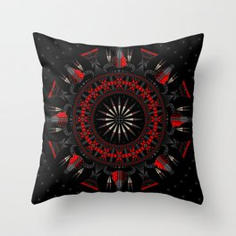 Buffalo Skull and Feathers (Red) Throw Pillow