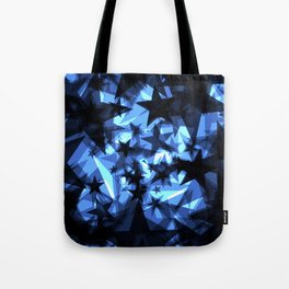 Dark blue space stars with a luminescence from foil in perspective. Tote Bag