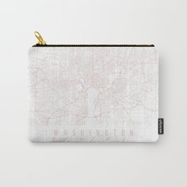 Washington DC Light Pink Minimal Street Map Carry-All Pouch