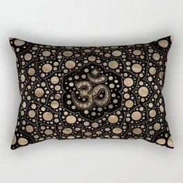 OM Symbol - Dot Art - Black and Gold Rectangular Pillow