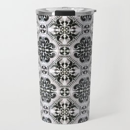 Portuguese Tiles Azulejos Black White Pattern Travel Mug