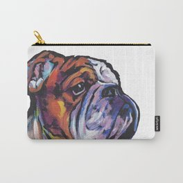 Fun English Bulldog Dog Portrait bright colorful Pop Art Painting by LEA Carry-All Pouch