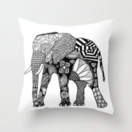 Decorative Indian Elephant Patterned Illustration Throw Pillow