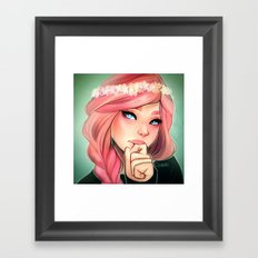 Pink and Flowers Framed Art Print