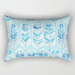SEABIRD Blue Boho Feathers Rectangular Pillow