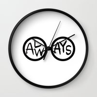 snape Wall Clocks featuring ALWAYS. by Lauren Vaughn