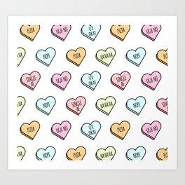 Sassy Valentines Candy Heart Pattern Art Print