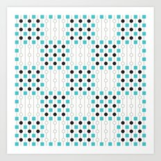 Geometric Pattern #179 (blue squares) Art Print