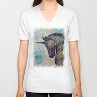 unicorn V-neck T-shirts featuring Dark Unicorn by Michael Creese