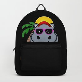 Cool Hippo relaxing on the Beach with Palm and Sun Design Backpack