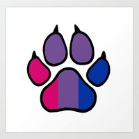 bisexual Art Prints featuring Bisexual Furry Pride by Jeymohr