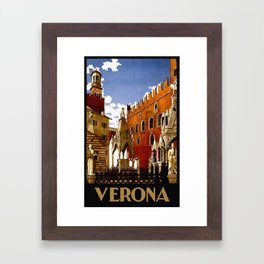 Vintage Verona Italy Travel Framed Art Print