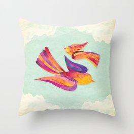 Shanti Sparrow: Daisy and Dawn the Sparrows Throw Pillow