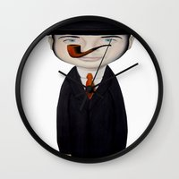 magritte Wall Clocks featuring omaggio a Magritte by beatrice alegiani