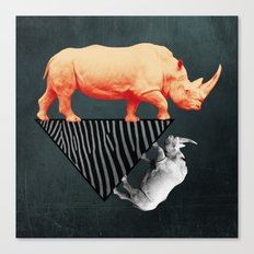 The orange rhinoceros who wanted to become a zebra Canvas Print