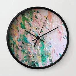 Abstract - emerald green & pink Wall Clock