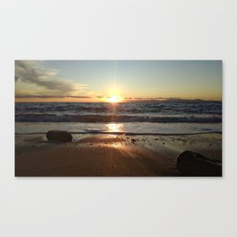 Sunset on The Beach In Torre Delle Stelle Canvas Print