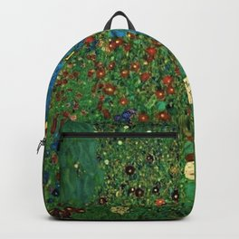 Farm Garden with Sunflowers and blue leaves by Gustav Klimt Backpack
