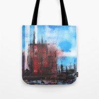 cityscape Tote Bags featuring Cityscape by Alfred Raggatt