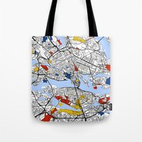 stockholm Tote Bags featuring Stockholm by Mondrian Maps