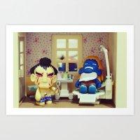 dentist Art Prints featuring Nightmare at the Dentist by Arwan Mauriattama