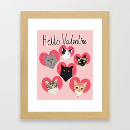 Cute cat collection hearts love valentines day gift for cat lady unique kitten funny illustration  Framed Art Print