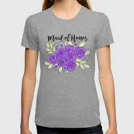 Maid Of Honor Wedding Bridal Purple Violet Lavender Roses Watercolor T-shirt