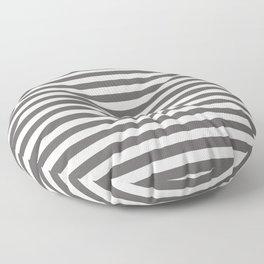 Pantone Pewter Gray & White Uniform Stripes Fat Horizontal Line Pattern Floor Pillow