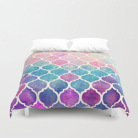 Rainbow Pastel Watercolor Moroccan Pattern Duvet Cover