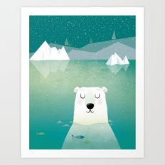 Happy Polar Bear Art Print