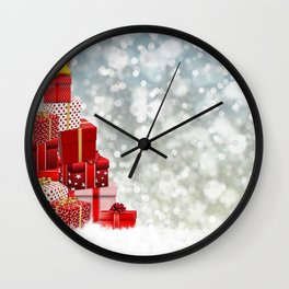 Holiday Christmas Merry Christmas Winter Snow Baub Wall Clock