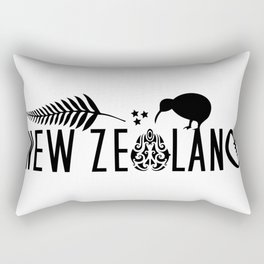 New Zealand Icons - Maori Kiwi Fern Rugby Rectangular Pillow