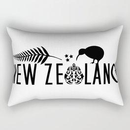 New Zealand Icons - Maori Kiwi Fern Rugby Rectangular Pillow
