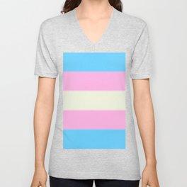 Transgender Pride Flag v2 Unisex V-Neck