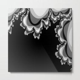 Black and Gray Ruffle Pattern Metal Print