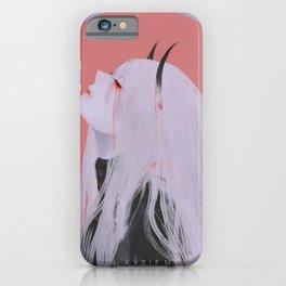 anime girls anime Kyrie Meii artwork digital simple background white hair blood horns iPhone Case