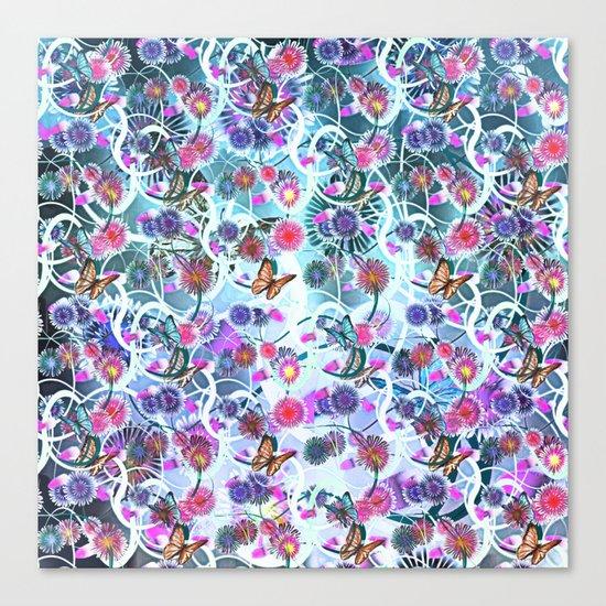 Dahlias And Vines Pattern Canvas Print