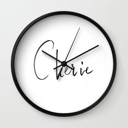 Cherie French lettering Wall Clock