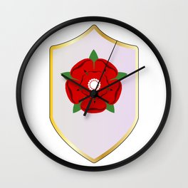 Lancastrian Red Rose Shield Wall Clock