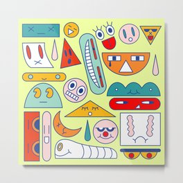Funny geometric faces Metal Print