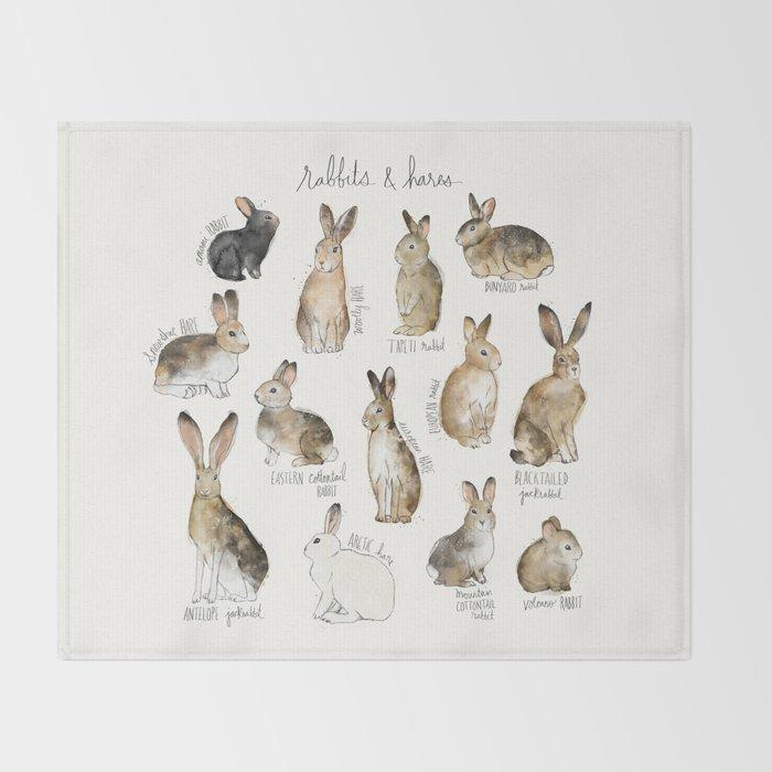 Rabbits & Hares Throw Blanket