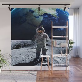 Funny Astronaut on the Moon Wall Mural