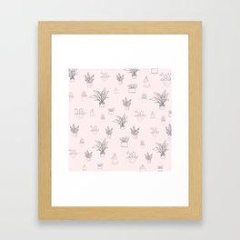 Cute Pink House Plant Pattern Framed Art Print