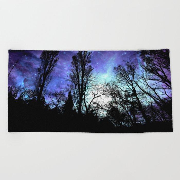 black trees periwinkle blue aqua space Beach Towel